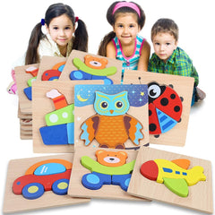 Wooden Jigsaw Puzzles for Toddlers 1 2 3 Years Old Boys Girls, Infant Kid Learning Educational 6PCS Puzzles Toys