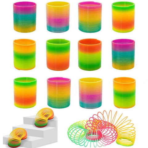 Rainbow Magic Spring, 12 PCS Colorful Rainbow Neon Plastic Spring Toy - 3 Otters
