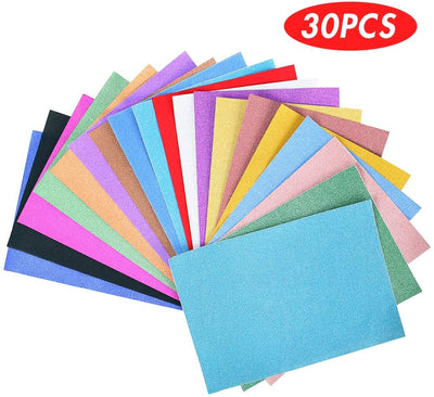 Glitter Cardstock Paper Pack, 30 sheets Pack A4 Glitter Paper Glitter Self-Adhesive Sticker Sticky back Paper, 10 Assorted Colors