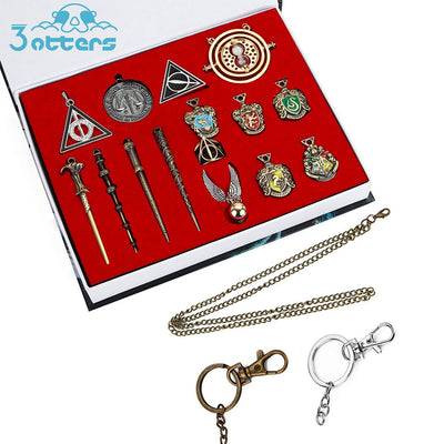 Harry potter Wizard Sorcerer's Wand Kids Toys Magic Wands Stick with Keychain Necklace in Box - 3 Otters