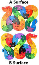 Load image into Gallery viewer, 3 otters Blocks Jigsaw Puzzles, Wooden Alphabet Jigsaw Puzzle Wooden Building Blocks Animal Wooden Puzzle for Children's Puzzles Toys - Snake & Elephant