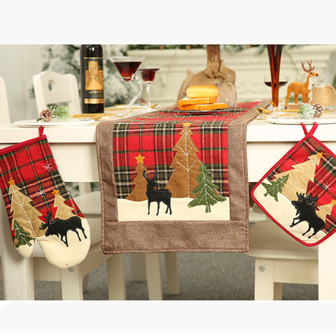Christmas Insulated Gloves Insulated Placemat Microwave Oven Mat - 3 Otters