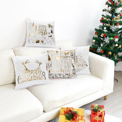 Hot-stamped Snowflakes Christmas Decorative Sofa Pillowcase - 3 Otters