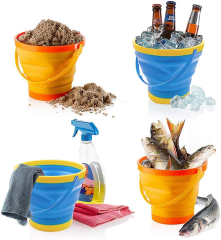 Foldable Bucket, 3PCS Foldable Pail Bucket Collapsible Buckets for Kids Beach Play Camping Gear Water and Food Jug, Dog Bowls, Camping, 2.5L