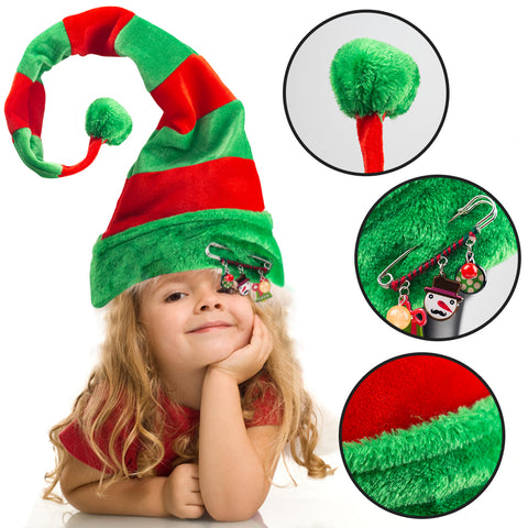 Long Striped Felt Elf Hat - 3 Otters