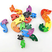 3 otters Blocks Jigsaw Puzzles, Wooden Alphabet Jigsaw Puzzle Wooden Building Blocks Animal Wooden Puzzle for Children's Puzzles Toys - Snake & Elephant - 3 Otters
