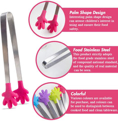 ood Tong, 4PCS Kitchen Tong with Silicon Tips, Hand-Shape Silicone Ice Tong Cooking Tongs, 5 inch