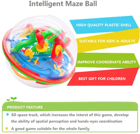 3D Maze Game with 138 Obstacles, Labyrinth Ball 3D Puzzle Toy Magical Maze Ball for Kids - 3 Otters