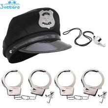 Load image into Gallery viewer, Kids Police Costumes with Hats, Whistle & Handcuffs