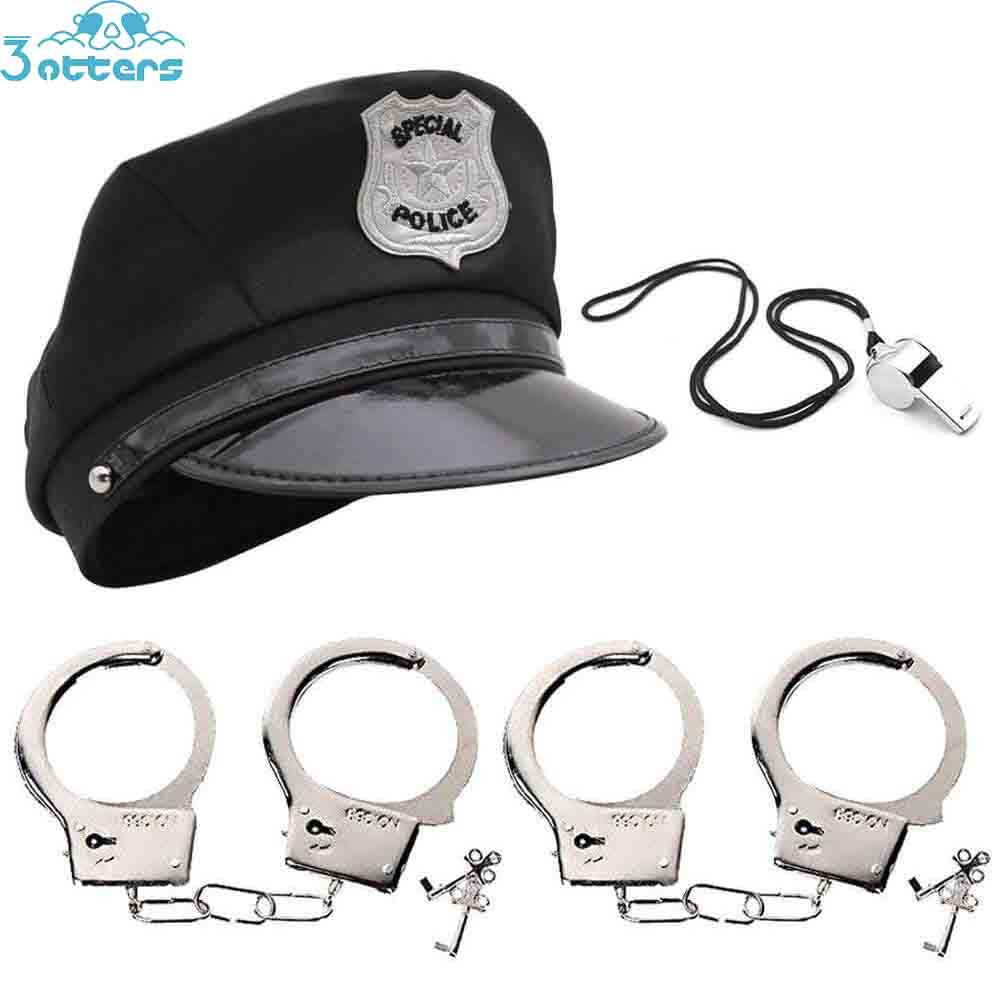 Kids Police Costumes with Hats, Whistle & Handcuffs