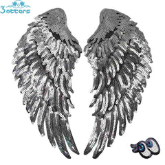 Silver Sequins Angel Wings