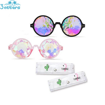 Kaleidoscope Glasses, 4PCS Rainbow Prism Sunglasses