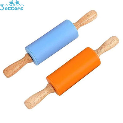 Kids Size Wooden Handle Rolling Pin - 3 Otters