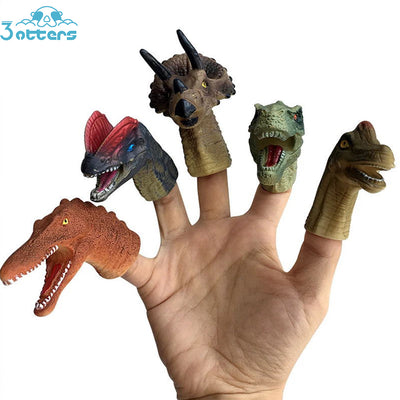 5PCS Realistic Dinosaur Finger Puppets Set Kids Role Playing Toy Tell Story Prop for Child Kids