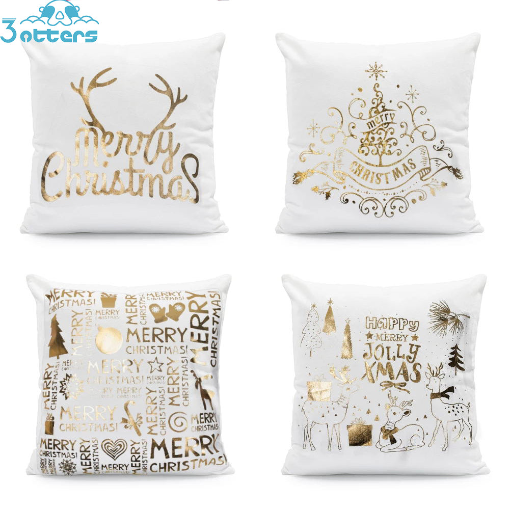 Hot-stamped Snowflakes Christmas Decorative Sofa Pillowcase