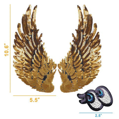Gold Sequins Angel Wings - 3 Otters