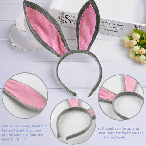 Gray Bunny Ears, Cute Bunny Headband Easter Day Party Decoration (3PCS) - 3 Otters