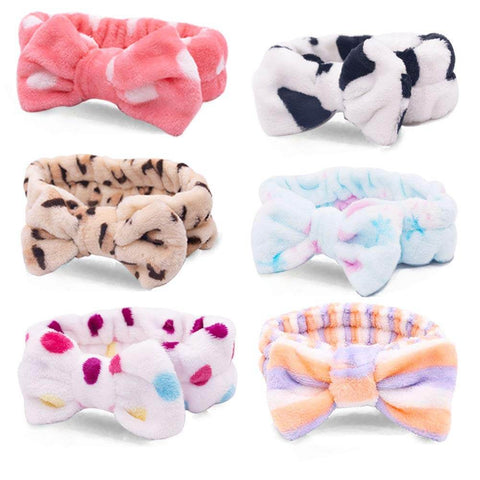Bow Hair Band, Women Fashion Coral Fleece Elastic Bow HeadBands (6 PCS ) - 3 Otters