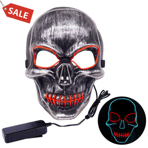 Skull Face Mask LED Light Up, Scary Skeleton Grim Reaper Costume Mask