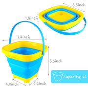 3PCS Foldable Bucket, Foldable Pail Bucket Sand Buckets Silicone Collapsible Bucket, for Kids Beach Play Camping Gear Water and Food Jug, Dog Bowls, Camping, 2L