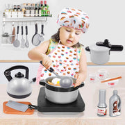 Kids Chef Costume Set, Toddler Cooking and Baking Set with Apron - 3 Otters