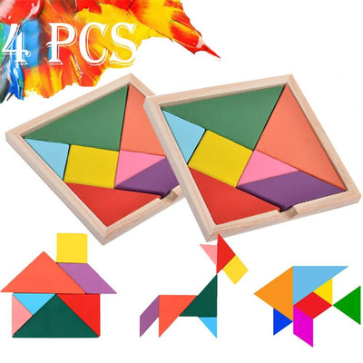 Wooden Tangram Puzzle Book Set Toy for Kids - 3 Otters