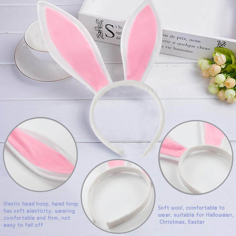 White Bunny Ears, Cute Bunny Headband Easter Day Party Decoration (3PCS) - 3 Otters