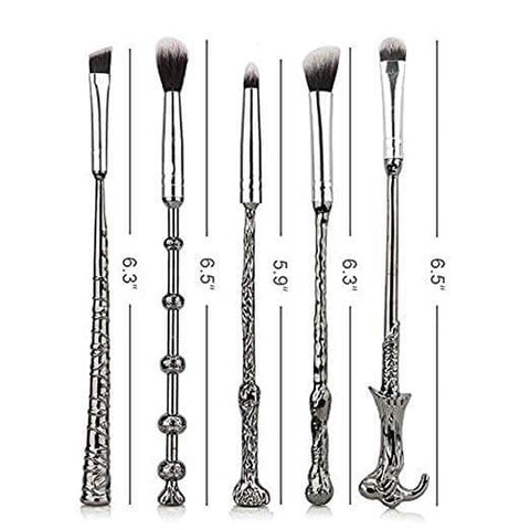 Silvery Harry Potter Wizard Wand Makeup Brushes Set - 3 Otters