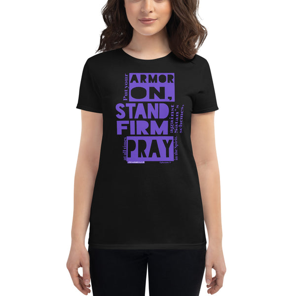 "Ladies' ""ARMOR ON"" tee (Purple) - One-hundred Eleven Artwear"