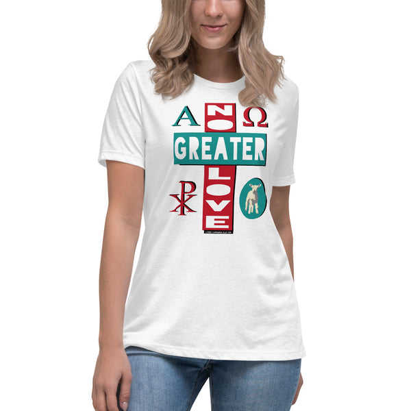 "Ladies' Relaxed ""NO GREATER LOVE"" tee (Aqua/red design) - One-hundred Eleven Artwear"
