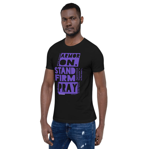 "Unisex/Men's ""ARMOR ON!"" tee (PURPLE) - One-hundred Eleven Artwear"
