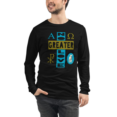 "Unisex/Men's ""NO GREATER LOVE"" Long-sleeved tee (blue/olive design) - One-hundred Eleven Artwear"