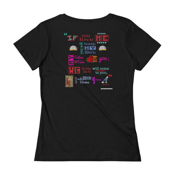 Ladies' John 14:23 Scoop-neck tee with front and back designs - One-hundred Eleven Artwear