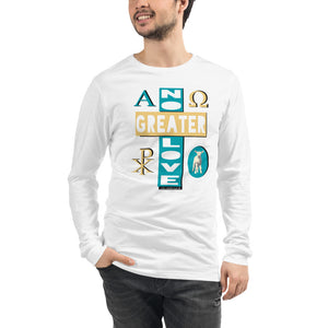 "Unisex/Men's ""NO GREATER LOVE"" long-sleeve tee (blue/yellow design) - One-hundred Eleven Artwear"