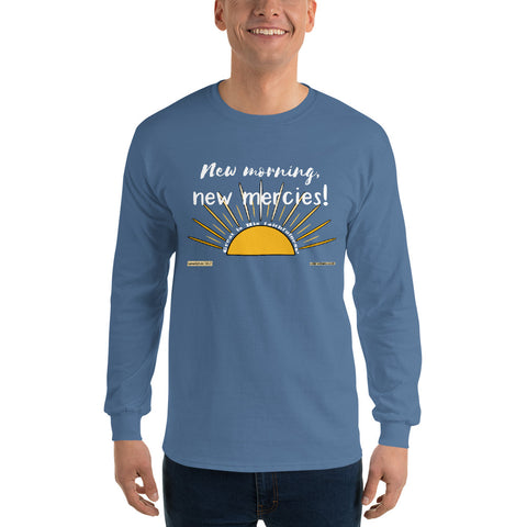 "Men's ""New Morning, New Mercies !"" long-sleeve tee - One-hundred Eleven Artwear"