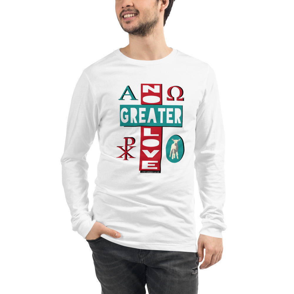 "Unisex/Men's ""NO GREATER LOVE"" Long-sleeve tee (Aqua/red design) - One-hundred Eleven Artwear"