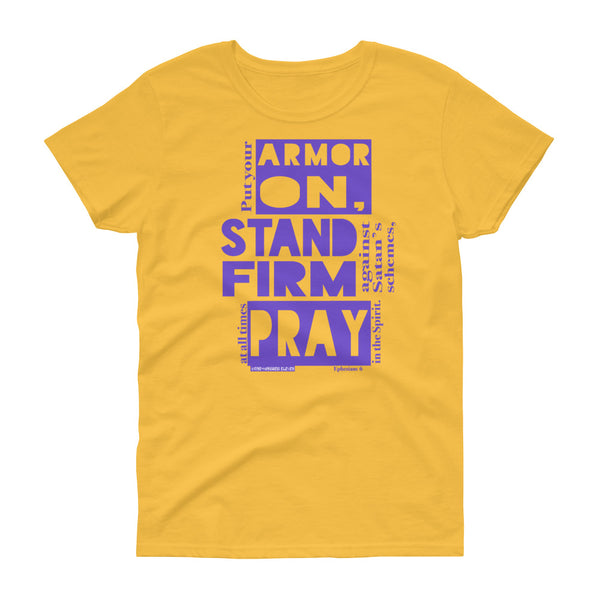 "Ladies' ""ARMOR ON"" tee (Purple), Loose Crew Neck version - One-hundred Eleven Artwear"