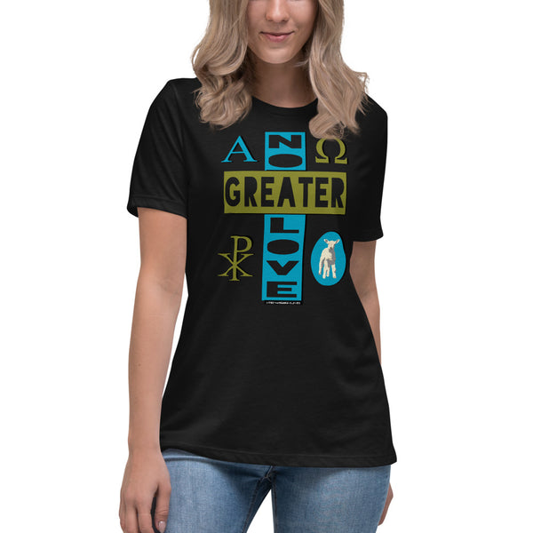 "Ladies' Relaxed ""NO GREATER LOVE"" tee (Blue/olive design) - One-hundred Eleven Artwear"