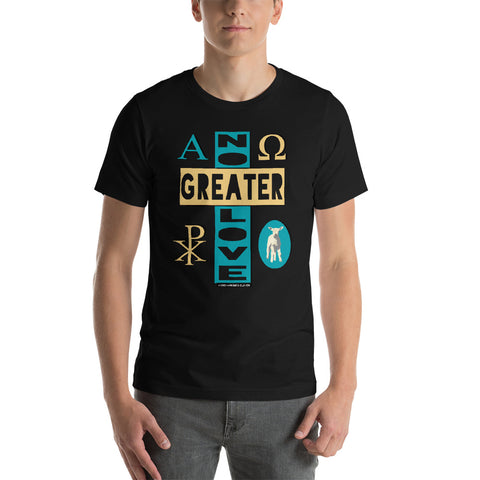 "Unisex/Men's ""NO GREATER LOVE"" tee (blue/yellow design) - One-hundred Eleven Artwear"