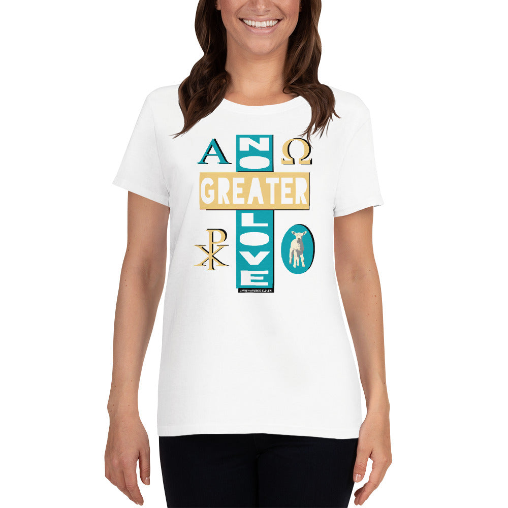 "Ladies' ""NO GREATER LOVE"" tee, Loose crew-neck version (Blue/yellow design) - One-hundred Eleven Artwear"