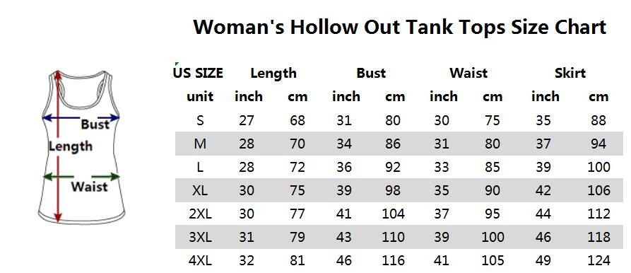 Hollow Tank Top Sizing Chart