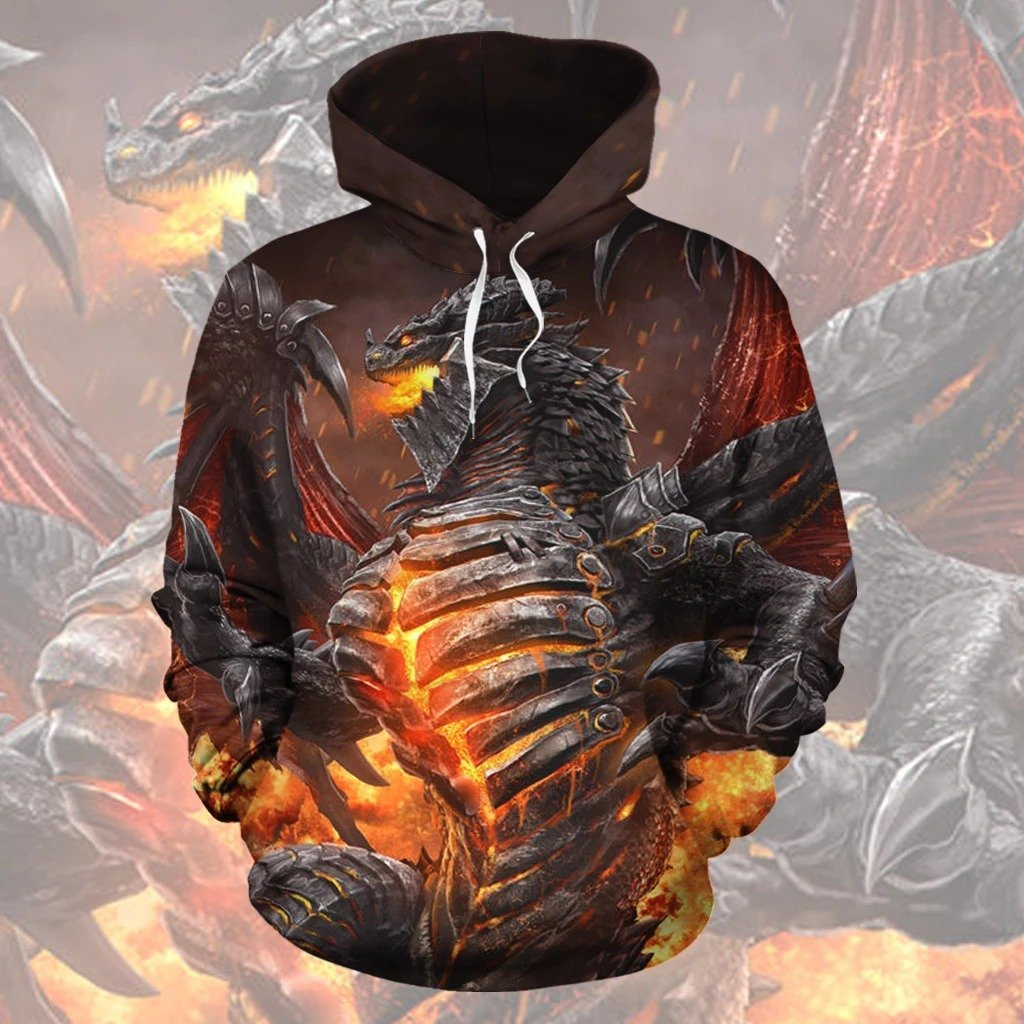 Dragon in Hell All Over Hoodie TT130803 - Amaze Style™-Apparel