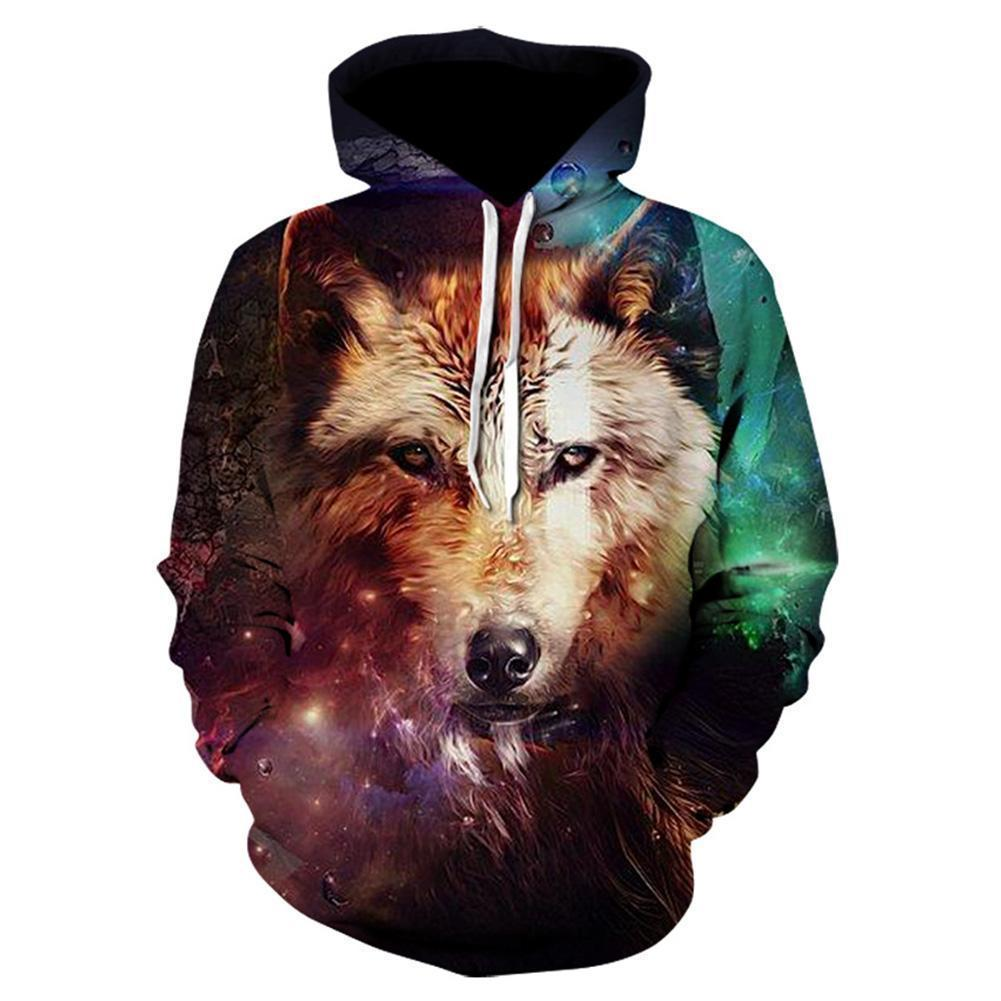 3D All Over Print Galaxy Wolf  Hoodie - Amaze Style™-Apparel