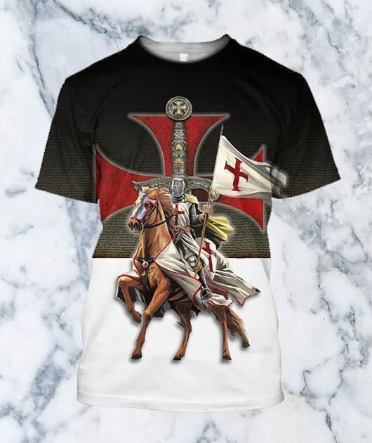 3D All Over Printed Knights Templar On Horseback - Amaze Style™-Apparel