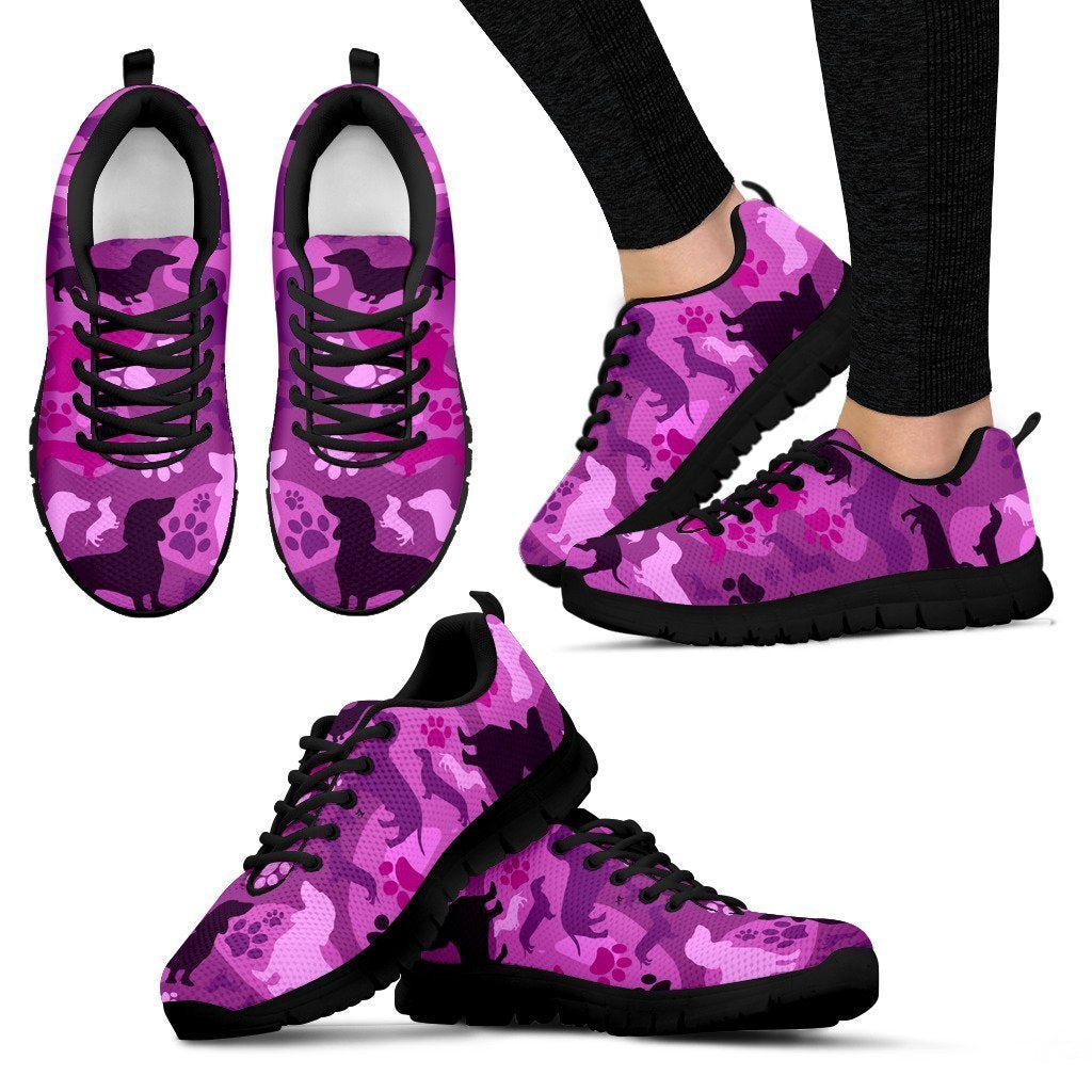 Dachshund Pink Camo Women's Sneakers for Lovers of Dachshunds - Amaze Style™