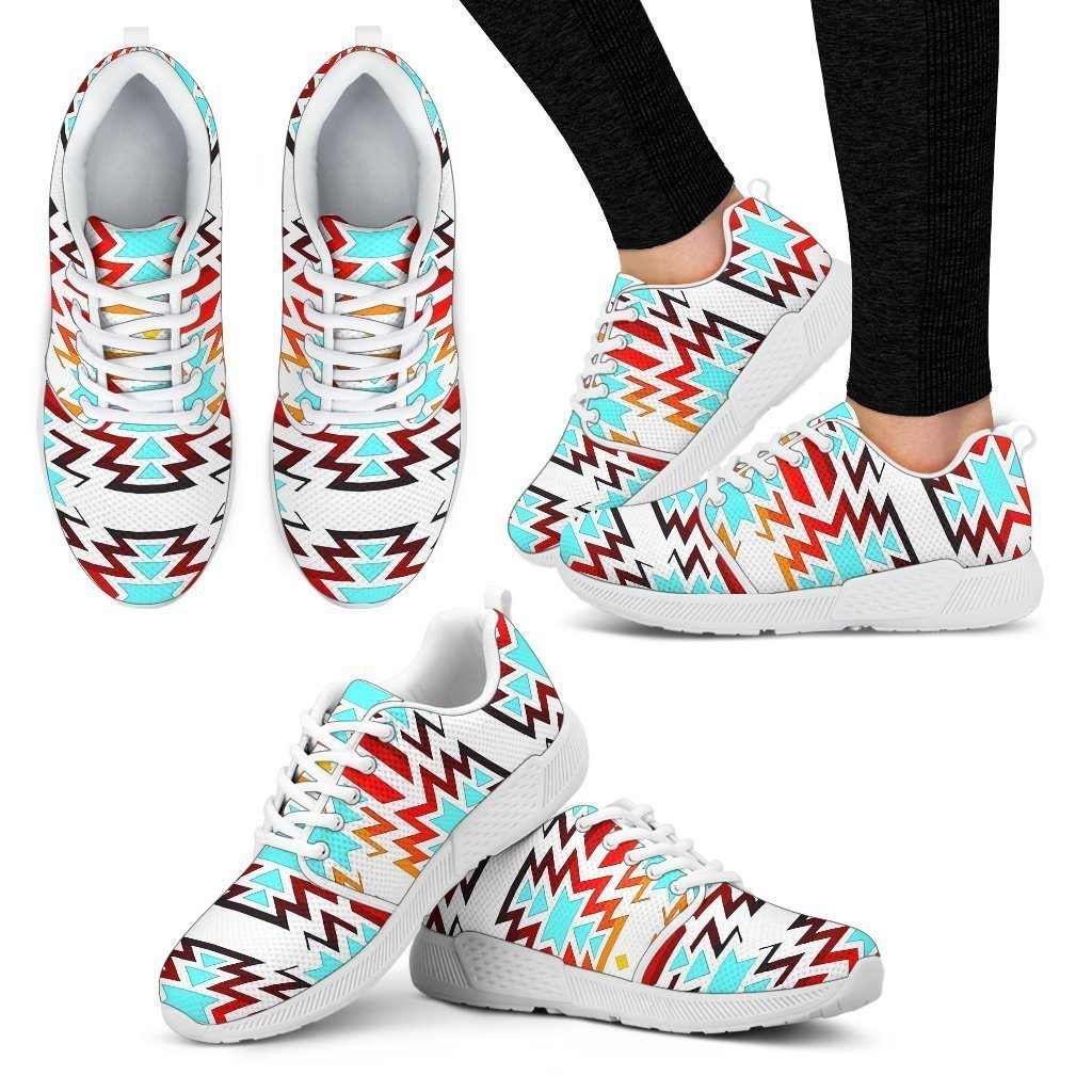 Big Pattern Fire Colors and Turquoise white Sopo Women's Athletic Sneakers White Sole - Amaze Style™-