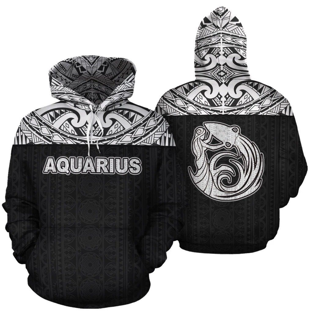 Aquarius Zodiac - Poly All Over Hoodie Black Version  NTH140846 - Amaze Style™-Apparel