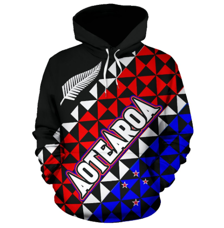 Aotearoa - New Zealand Hoodie Silver Fern & Flag Color PL - Amaze Style™