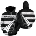 Aotearoa-New Zealand Hoodie Silver Fern - Black TH5 - Amaze Style™-Apparel