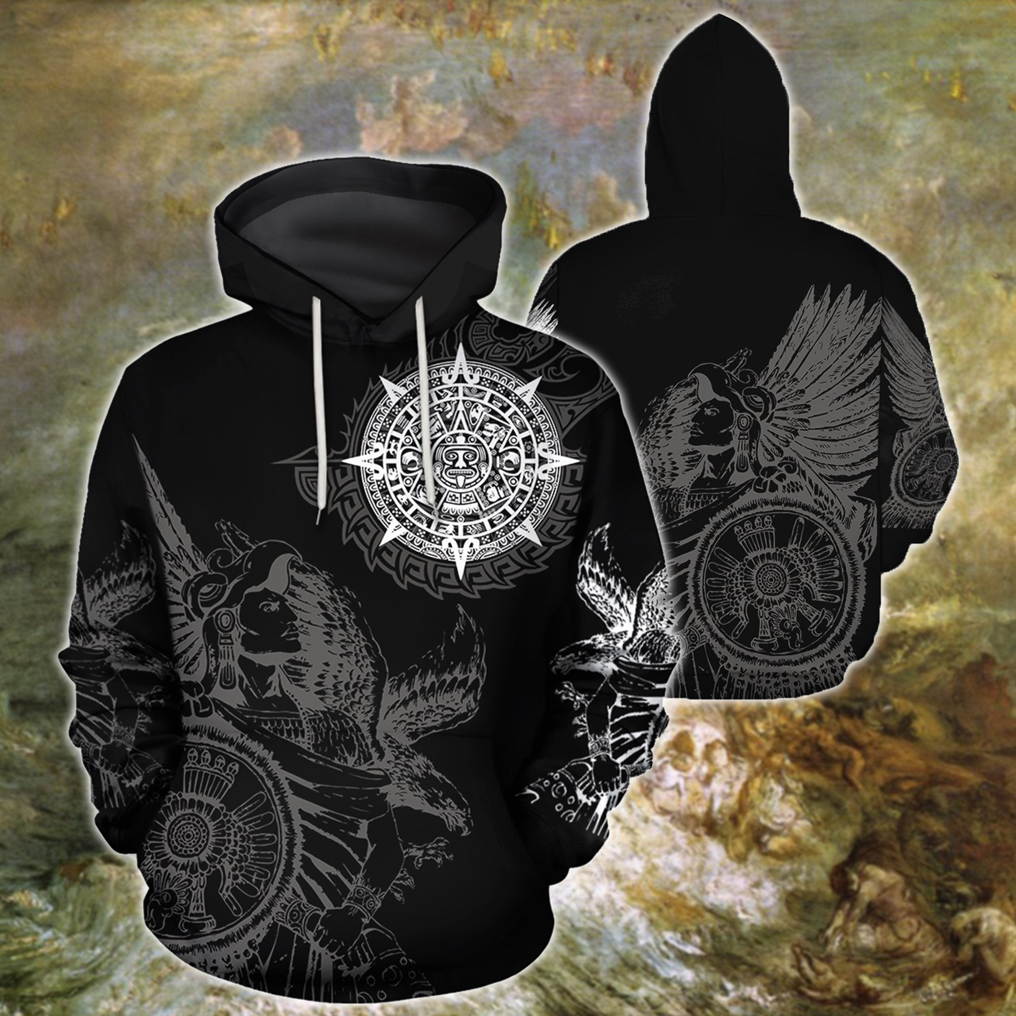 3D All Over Aztec Mexican Tattoo Hoodie - Amaze Style™